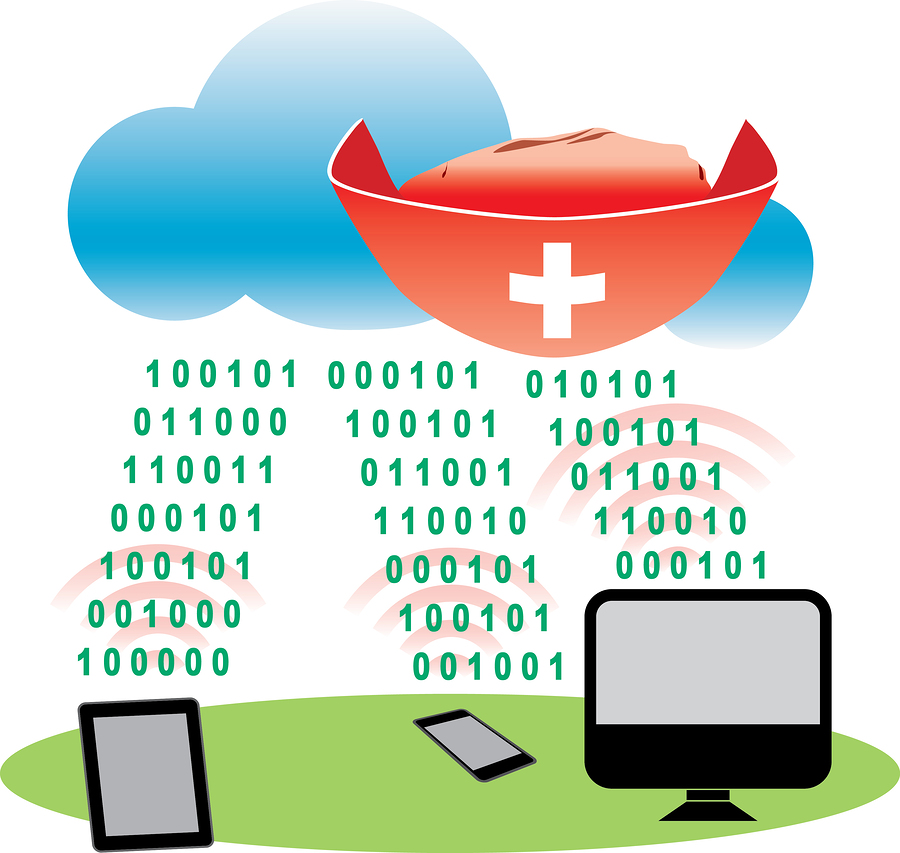 Cloud antivirus concept illustration with white cross on a red hat, cloud, netbook, smartphone, computer and binary code