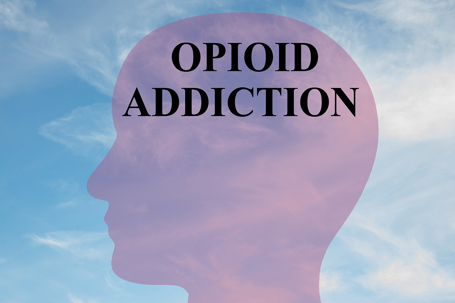 "Render illustration of ""OPIOID ADDICTION"" script on head silhouette with cloudy sky as a background."
