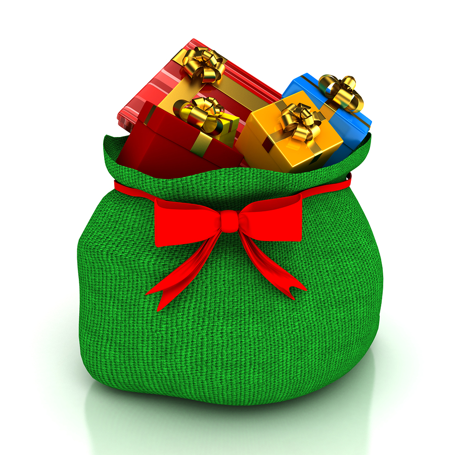 Christmas bag with gifts over white. computer generated image