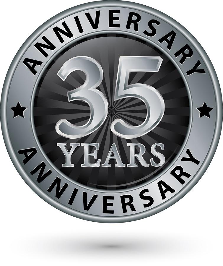 35 Years Anniversary Silver Label Vector Illustration Allan